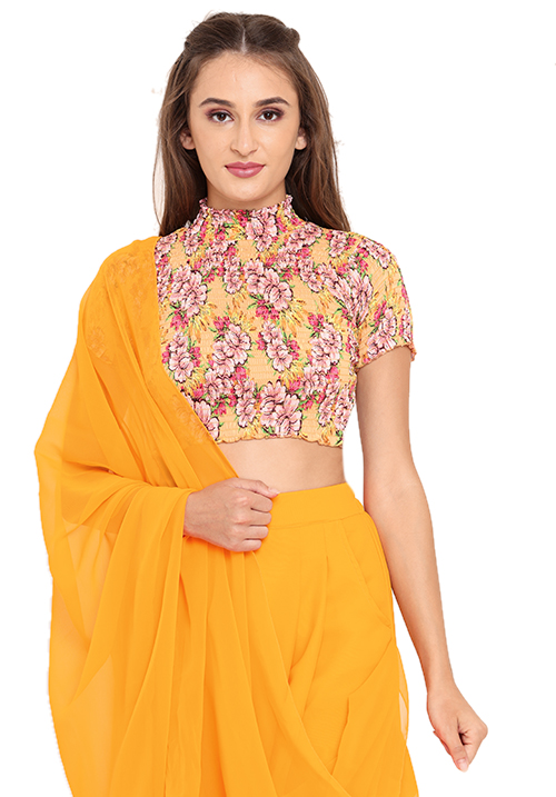 High Neck Top and Draped Dhoti Set!