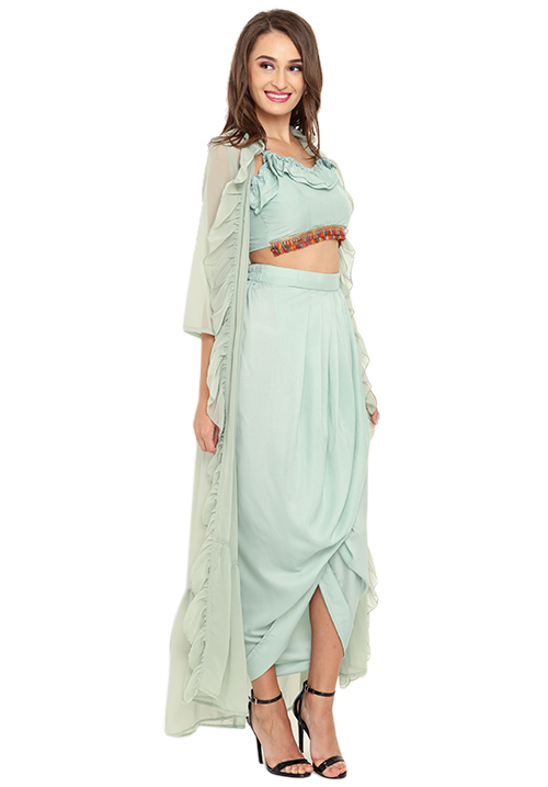 3 Piece Wrapped Draped Skirt Set!