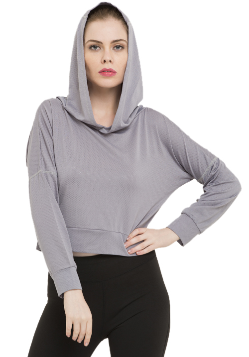 ACTIVE CUTOUT GREY HOODIE