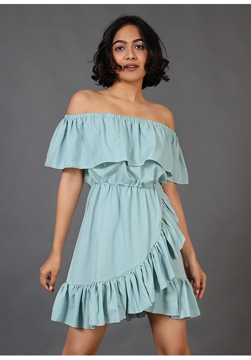 Overlapping Ruffle Dress