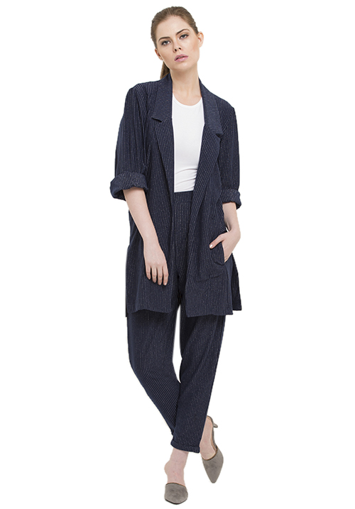 Pin Striped Knitted Blazer Set!