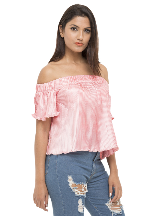 Pleated Off Shoulder Top!