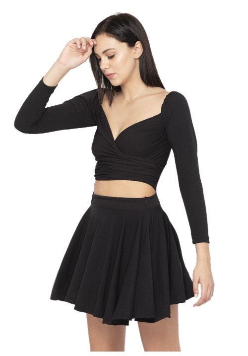 Wrapped Top + Skater Skirt Set