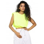 Padded Shoulder Cropped Tee