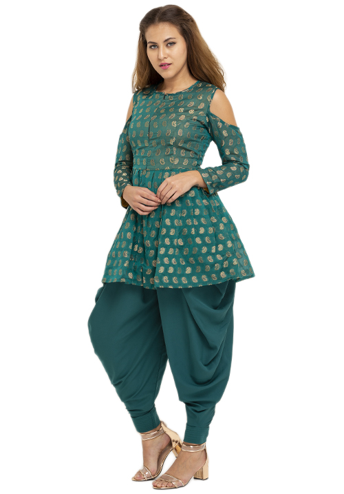 Jacquard Peplum Top With Dhoti