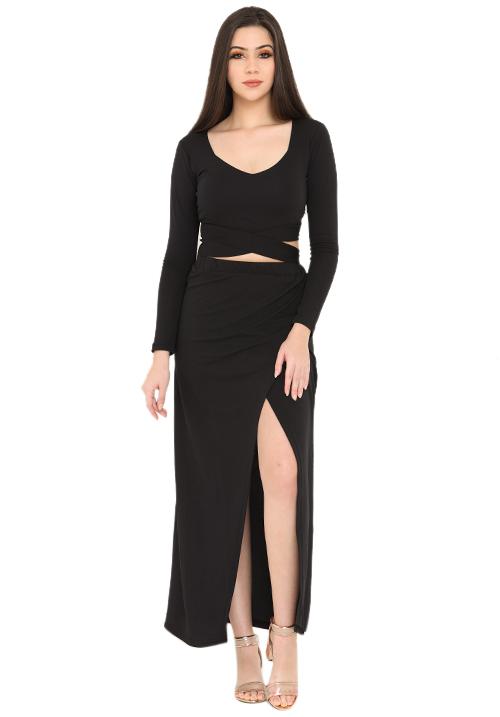 Overlapping All Black Skirt Set!