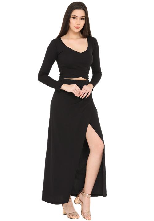 All Black Overlapping Skirt Set