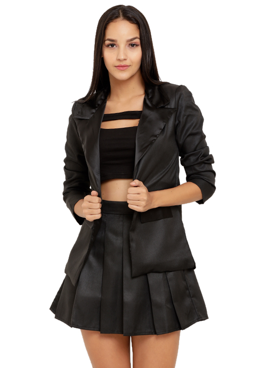 All Black Blazer Skirt Set!