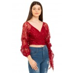 Embroidered Wrap Up Top!