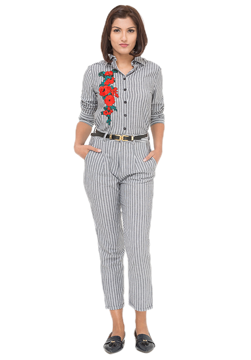 Flower Patch Shirt + Striped Trousers Set!