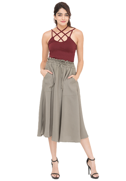 Criss Cross Top + Flared Midi Skirt Set!