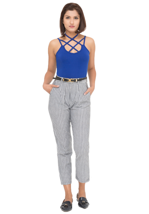 Criss Cross Top + Striped Trousers