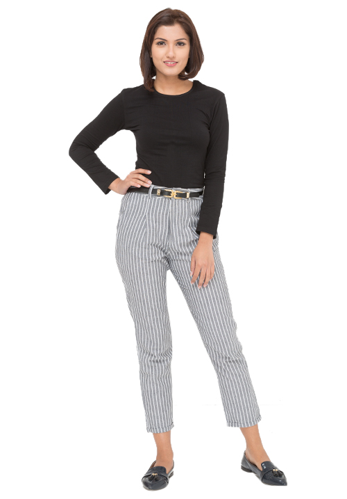 Full Sleeves Tee + Striped Trousers