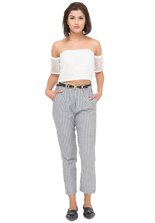 Bare Shoulders Top + Striped Trousers