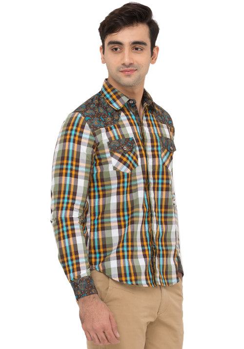 Patch Work Plaid Shirt