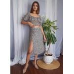 Slit Midi Skirt Set