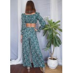 Tie Up Top and Wide Leg Pants Set