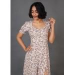 Smocked and Slit Midi Dress