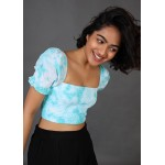 Tie and Dye Smocked Puff Sleeves Top