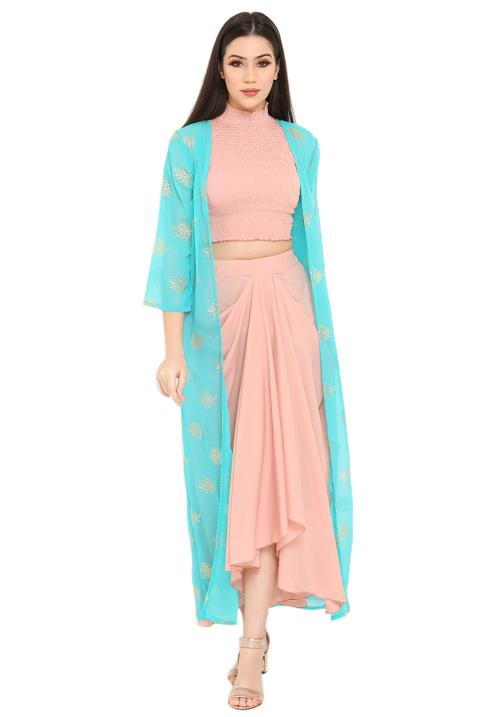 Colour Block Draped Skirt Set